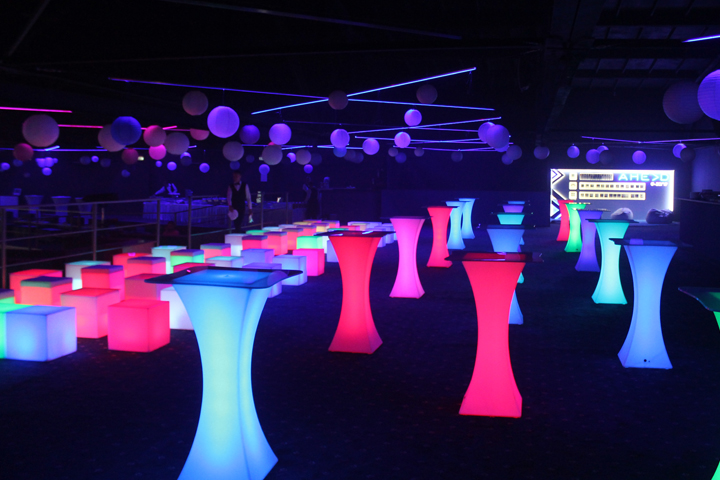 Glowing Bar tables for rent
