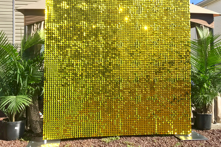 gold sequin backdrop rental
