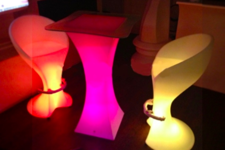 LED Cube Ottomans for rent