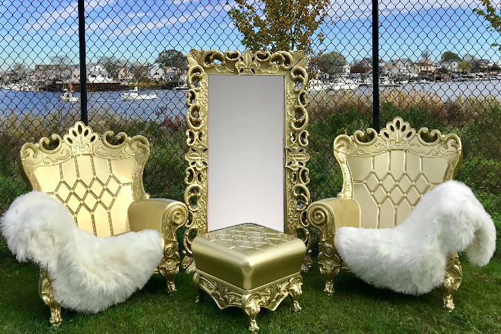 Gold throne chair rental