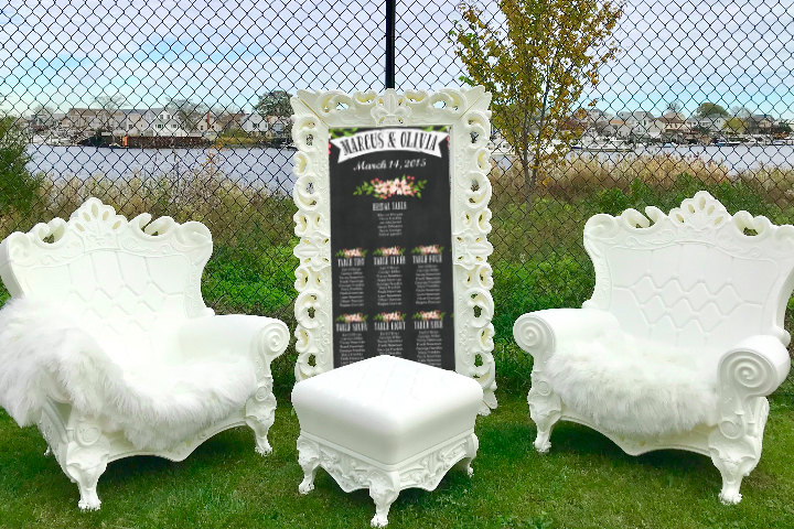 White Baroque Style Furniture Rental Package Baby Showers