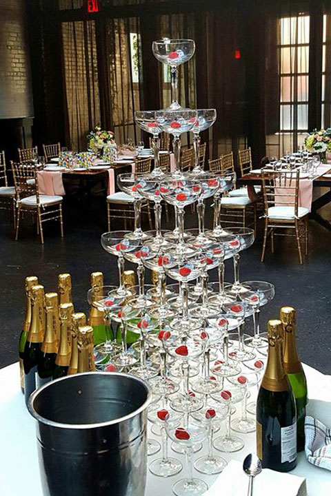 Tower of glasses for wedding
